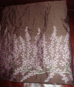 brown & floral border print for a skirt